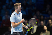 Jack Sock of the United States fist pump during the ATP World Tour Finals at the O2 Arena, London, United Kingdom on 12 November 2017. Photo by Martin Cole.