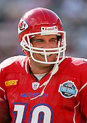 HONOLULU - FEBRUARY 12:  Trent Green #10 of the Kansas City Chiefs American Football Conference AFC All-Stars smiles after scoring a touchdown on a one yard run at the 2006 NFL Pro Bowl at Aloha Stadium on February 12, 2006 in Honolulu, Hawaii. The NFC defeated the AFC 23-17. ©Paul Spinelli/SpinPhotos *** Local Caption *** Trent Green