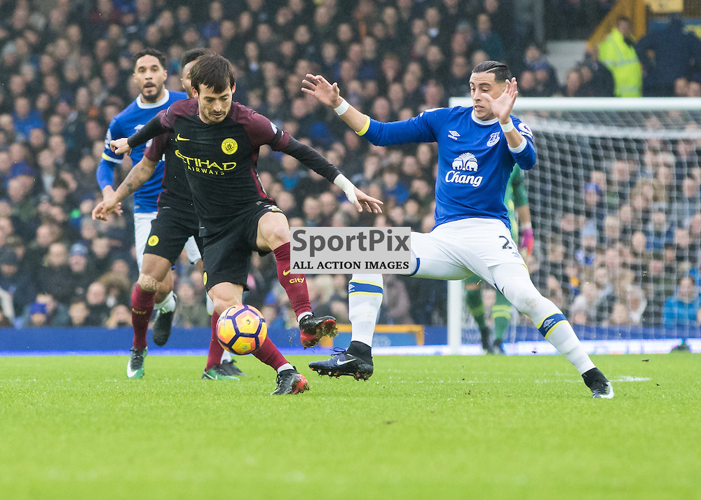 David Silva of Manchester City with Ramiro Funes Mori of Everton.Everton v Manchester City, Barclays English Premier League, 15th January 2017. (c) Paul Cram | SportPix