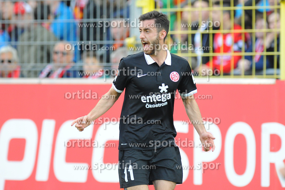 18.04.2015, Schwarzwald Stadion, Freiburg, GER, 1. FBL, SC Freiburg vs 1. FSV Mainz 05, 29. Runde, im Bild Jubel bei Yunus Malli (FSV Mainz 05) // during the German Bundesliga 29th round match between SC Freiburg and 1. FSV Mainz 05 at the Schwarzwald Stadion in Freiburg, Germany on 2015/04/18. EXPA Pictures &copy; 2015, PhotoCredit: EXPA/ Eibner-Pressefoto/ Laegler<br /> <br /> *****ATTENTION - OUT of GER*****