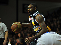Akeem Wright looks for options, in the NBL match, between the Otago Nuggets and Hawkes Bay, Lion Foundation Arena, Edgar Centre, Dunedin, Otago, New Zealand, Friday, May 24, 2013. Credit: Joe Allison / Allison Images.