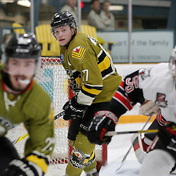 "TRENTON, ON  - MAY 4,  2017: Canadian Junior Hockey League, Central Canadian Jr. ""A"" Championship. The Dudley Hewitt Cup. Game 5 between The Georgetown Raiders and The Powassan Voodoos.  Shane Beaulieu #7 of the Powassan Voodoos watches on during the play during the third period <br /> (Photo by Amy Deroche / OJHL Images)"
