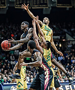 SOUTH BEND, IN - FEBRUARY 11: Dwayne Bacon #4 of the Florida State Seminoles shoots the ball as V.J. Beachem #3 of the Notre Dame Fighting Irish defends at Purcell Pavilion on February 11, 2017 in South Bend, Indiana.