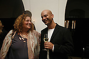 Karen Wright and Mark Rappolt  VIP opening of Bill Viola exhibition Love/Death: The Tristan project. Haunch of Venison, St Olave's College, Tooley St. London and Dinner afterwards at Banqueting House. Whitehall. 19 June 2006. ONE TIME USE ONLY - DO NOT ARCHIVE  © Copyright Photograph by Dafydd Jones 66 Stockwell Park Rd. London SW9 0DA Tel 020 7733 0108 www.dafjones.com