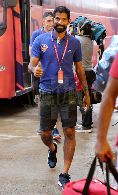 Denzil Franco of FC Goa arrives for the match 8 of the Indian Super League (ISL) season 3 between FC Goa and FC Pune City held at the Fatorda Stadium in Goa, India on the 8th October 2016.<br /> <br /> Photo by Sandeep Shetty / ISL/ SPORTZPICS