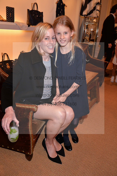 SYDNEY FINCH and her daughter OONA at a party to celebrate the publication of India Hicks: Island Style hosted by Princess Marie-Chantal of Greece, Saffron Aldridge and Amanda Brooks has held at Ralph Lauren, 105-109 Fulham Road, London on 28th April 2015,