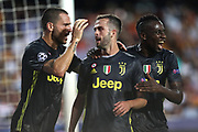 Miralem Pjanic of Juventus FC celebrates with his teammates after scoring his side's second goal during the UEFA Champions League, Group H football match between Valencia CF and Juventus FC on September 19, 2018 at Mestalla stadium in Valencia, Spain - Photo Manuel Blondeau / AOP Press / ProSportsImages / DPPI