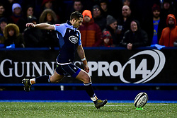 Jason Tovey of Cardiff Blues converts his kick after being awarded a penalty  - Ryan Hiscott/JMP - 26/12/19 - SPORT - Arms Park - Cardiff, Wales - Thursday, Dec 26 2019 - Guinness PRO14 Cardiff Blues vs Dragons