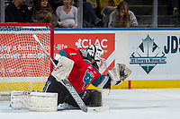 KELOWNA, CANADA - OCTOBER 27: James Porter #1 of the Kelowna Rockets makes a glove save against the Tri-City Americans on October 27, 2017 at Prospera Place in Kelowna, British Columbia, Canada.  (Photo by Marissa Baecker/Shoot the Breeze)  *** Local Caption ***