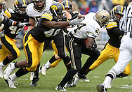 15 NOVEMBER 2008: Iowa defensive end Christian Ballard (46) tries to get his hands on Purdue running back Kory Sheets (24) in the first half of an NCAA college football game against Purdue, at Kinnick Stadium in Iowa City, Iowa on Saturday Nov. 15, 2008. Iowa beat Purdue 22-17.