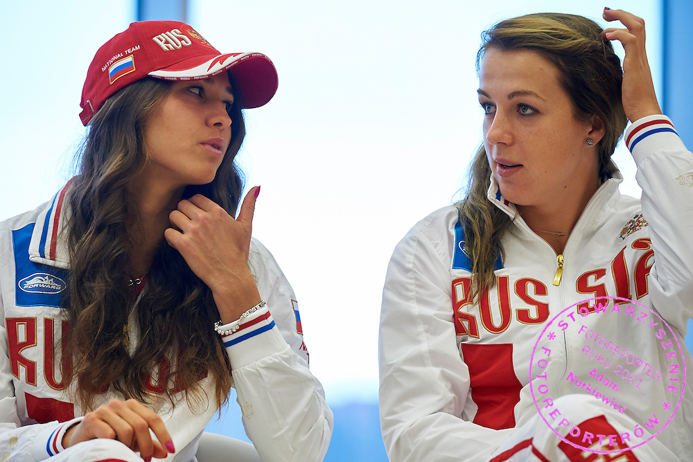 (L) Vitalia Diatchenko and (R) Anastasia Pavyuchenkova both from Russia during official draw one day before the Fed Cup / World Group 1st round tennis match between Poland and Russia at Holiday Inn on February 6, 2015 in Cracow, Poland.<br /> <br /> Poland, Cracow, February 6, 2015<br /> <br /> Picture also available in RAW (NEF) or TIFF format on special request.<br /> <br /> For editorial use only. Any commercial or promotional use requires permission.<br /> <br /> Adam Nurkiewicz declares that he has no rights to the image of people at the photographs of his authorship.<br /> <br /> Mandatory credit:<br /> Photo by &copy; Adam Nurkiewicz / Mediasport