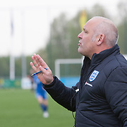 21120413 - IEPER, BELGIUM : a member of England's coaching staff shouts directions to players during the Second qualifying round of U17 Women Championship between England and Iceland on Friday April 13th, 2012 in Ieper, Belgium.