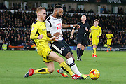 Burton Albion midfielder Tom Naylor (15) tackles Derby County striker Darren Bent (11) during the EFL Sky Bet Championship match between Derby County and Burton Albion at the Pride Park, Derby, England on 21 February 2017. Photo by Richard Holmes.