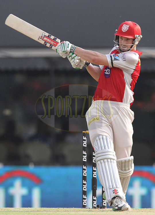 Shaun Marsh of the Kings XI Punjab pulls a delivery during match 33 of the the Indian Premier League (IPL) 2012  between The Kings X1 Punjab and The Mumbai Indians held at the Punjab Cricket Association Stadium, Mohali on the 25th April 2012..Photo by Shaun Roy/IPL/SPORTZPICS