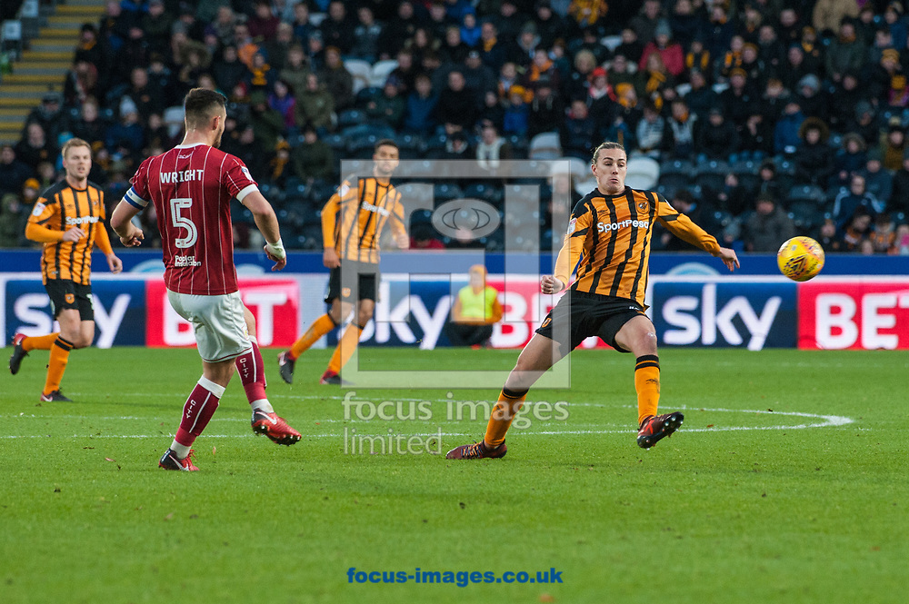 Jackson Irvine of Hull City attempts to close down a Bailey Wright of Bristol City clearance during the Sky Bet Championship match at the KCOM Stadium, Hull<br /> Picture by Matt Wilkinson/Focus Images Ltd 07814 960751<br /> 25/11/2017