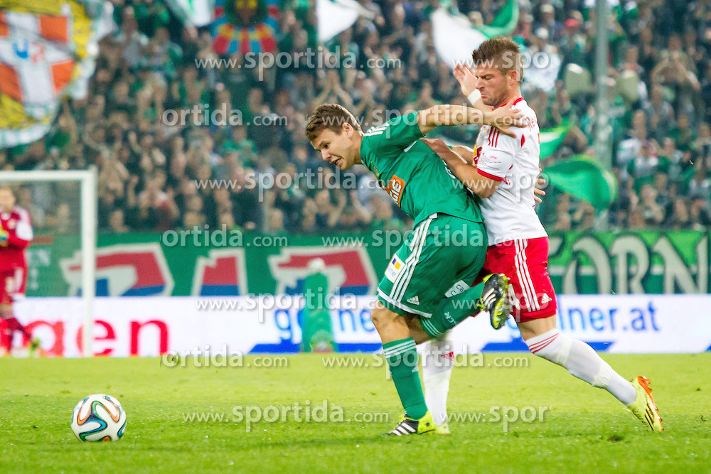 26.04.2014, Gerhard Hanappi Stadion, Wien, AUT, 1. FBL, SK Rapid Wien vs Red Bull Salzburg , 34. Runde, im Bild Louis Schaub, (SK Rapid Wien, #21), Valon Berisha, (Red Bull Salzburg, #14)// during Austrian Bundesliga Football Match, 34th Round, between SK Rapid Wien and Red Bull Salzburg at the Gerhard Hanappi Stadion, Vienna, Austria on 2014/04/26. EXPA Pictures © 2014, PhotoCredit: EXPA/ Sebastian Pucher