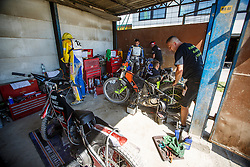 Mechanics of rider Jozsef Tabaka of Hungary during Slovenian national Championship in Speedway, Ljubljana, Stadion Ilirija, on 2nd of July, Slovenia Photo by Grega Valancic / Sportida