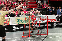 2019-04-27 |Stockholm | Storvreta IBK (8) Jimmie Pettersson scores 4-3 during the Final Game in SSL Floorball between Storvreta IBK and IBF Falun at Globen Arena. (Photo by: Daniel Carlstedt | Swe Press Photo).