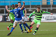Forest Green Rovers Dayle Grubb(8) tackles Carlisle United's Gary Liddle(5) for the ball during the EFL Sky Bet League 2 match between Carlisle United and Forest Green Rovers at Brunton Park, Carlisle, England on 27 January 2018. Photo by Shane Healey.