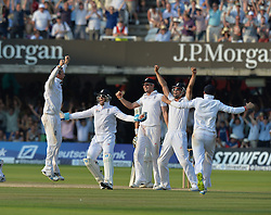 © Licensed to London News Pictures. 21/07/2013. Graeme Swann celebrates taking the wicket of Pattinson on day 4 of the Second Test England v Australia The Ashes Lord's Cricket Ground, London on July 21, 2013. England won the match taking a 2 - 0 lead in the series. Photo credit: Mike King/LNP