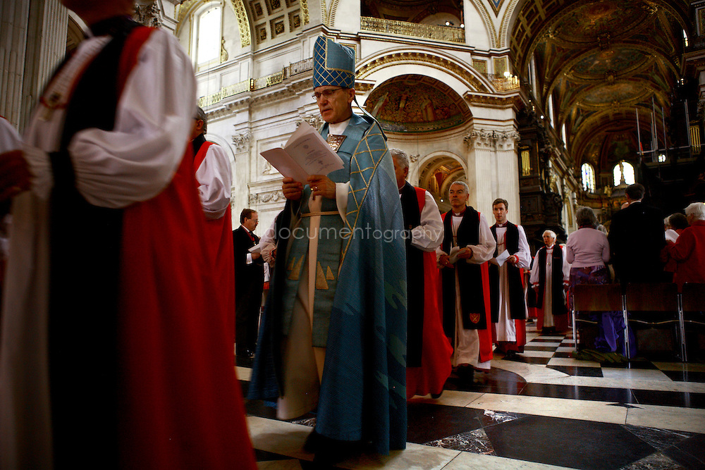 Bishops walk out of the cathedral during the Consecration of the Bishop of Repton at St Paul's.