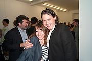 """SARAH MORRIS; ADAM WAYMOUTH, Video artist Yi Zhou  first solo show """"I am your Simulacrum"""".Exhibition opening at 20 Hoxton Square Projects. Hoxton Sq. London. 1 September 2010.  -DO NOT ARCHIVE-© Copyright Photograph by Dafydd Jones. 248 Clapham Rd. London SW9 0PZ. Tel 0207 820 0771. www.dafjones.com."""