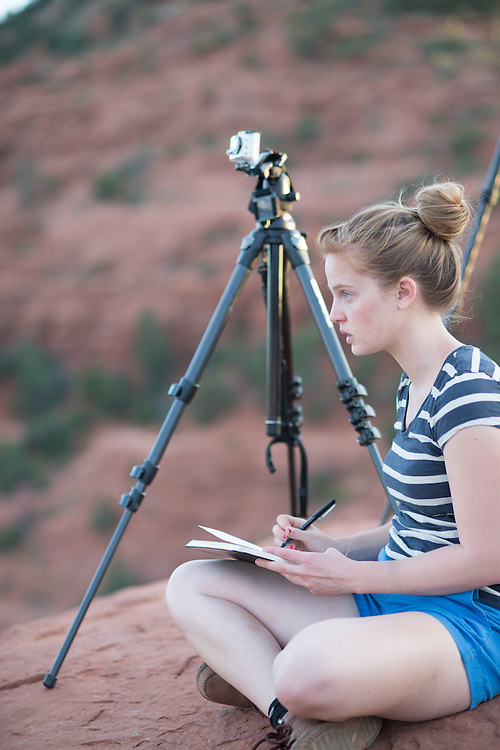 Young Woman Videotaping Sedona