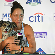 JESSICA PEGULA speaks at a press conference with her dog maddie after winning the 2019 Citi Open.