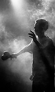 Bez of the Happy Mondays, Silhouetted in smoke. Live at the Free Trade Hall, Manchester. 18.11.1989
