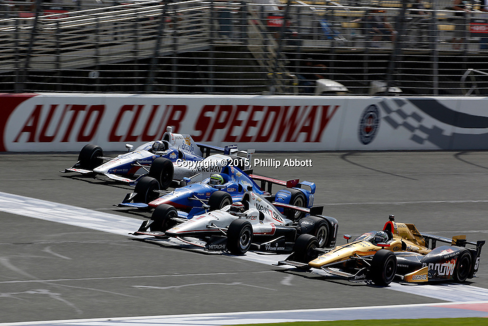 26-27 June, 2015, Fontana, California USA<br /> Ryan Briscoe, Will Power, Tony Kanaan and Marco Andretti battle for the lead<br /> &copy;2015, Phillip Abbott<br /> LAT Photo USA