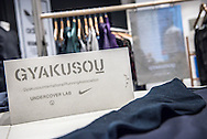 A photograph of new Nike / Gyakusou products on the shop floor at Wood Wood in Copenhagen.