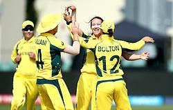 Megan Schutt of Australia Women celebrates with teammates after taking the wicket of Lauren Winfield of England - Mandatory by-line: Robbie Stephenson/JMP - 09/07/2017 - CRICKET - Bristol County Ground - Bristol, United Kingdom - England v Australia - ICC Women's World Cup match 19