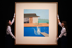 © Licensed to London News Pictures. 07/02/2020. London, UK. Technicians hang David Hockney's painting titled 'The Splash' (Est. £20-£30 million) at the preview of Sotheby's Contemporary Art. The auction will take place at Sotheby's in central London on 11 and 12 February 2020. Photo credit: Dinendra Haria/LNP