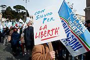 2013/03/23 Roma, manifestazione del PDL Popolo della Liberta'. Nella foto alcuni manifestanti.<br /> Rome, Popolo della Liberta' (reading The Peolple of Freedom Party) demo. In the picture some supporters hold a note reading ' With Silvio (Berlusconi) for freedom ' - &copy; PIERPAOLO SCAVUZZO