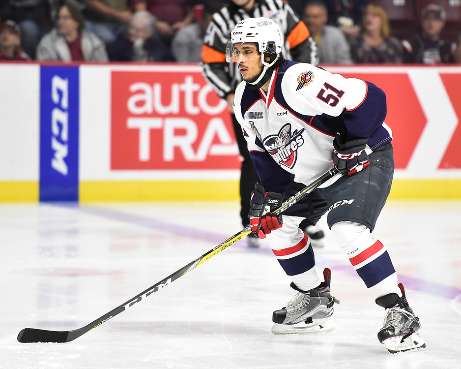 Jalen Chatfield of the Windsor Spitfires in Game 3 of the 2017 MasterCard Memorial Cup against the Seattle Thunderbirds on Sunday May 21, 2017 at the WFCU Centre in Windsor, ON. Photo by Aaron Bell/CHL Images