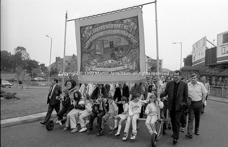 Treeton Branch banner. 1990 Yorkshire Miner's Gala. Rotherham.