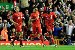 Mamadou Sakho of Liverpool celebrates after scoring his sides second goal   - Mandatory by-line: Matt McNulty/JMP - 20/04/2016 - FOOTBALL - Anfield - Liverpool, England - Liverpool v Everton - Barclays Premier League