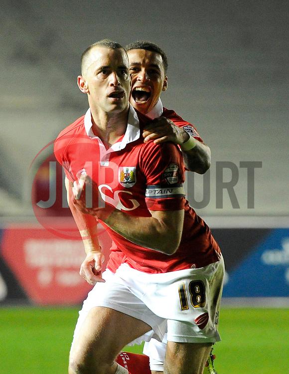 Bristol City's Aaron Wilbraham celebrates his goal with Bristol City's James Tavernier  - Photo mandatory by-line: Joe Meredith/JMP - Mobile: 07966 386802 - 07/04/2015 - SPORT - Football - Bristol - Ashton Gate - Bristol City v Swindon Town - Sky Bet League One