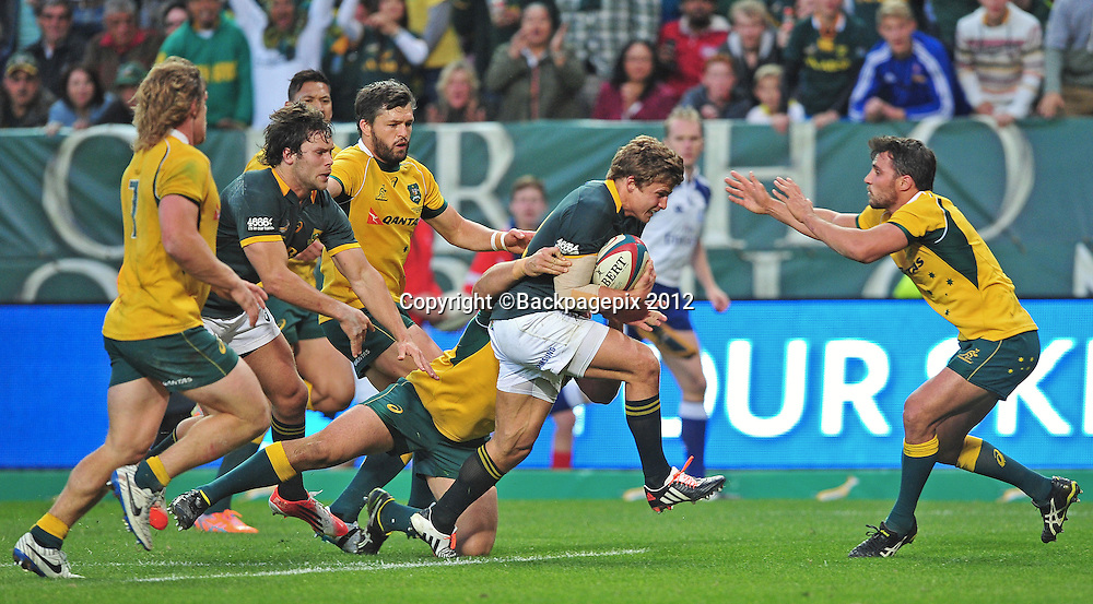 Pat Lambie of South Africa drives for the tryline during the 2014 Castle Lager Rugby Championship game between South Africa and Australia at Newlands, Stadium, Cape Town on 27 September 2014 ©Ryan Wilkisky/BackpagePix