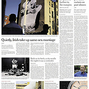 "Tearsheet of ""Gay Marriage on Ballot Shows Shift in Irish Attitudes"" published in The New York Times (Front page)"