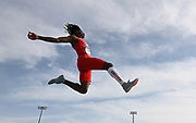 Jun 22, 2019; Miramar, FL, USA; Phillip Austin III of Arizona wins the long jump at 25-4 3/4 (7.74m) during the USATF U20 Championships at Ansin Sports Complex.
