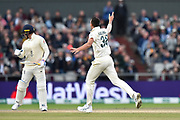 Wicket - Josh Hazlewood of Australia celebrates taking the wicket of Jason Roy of England during the International Test Match 2019, fourth test, day three match between England and Australia at Old Trafford, Manchester, England on 6 September 2019.