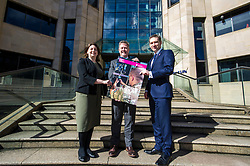 Pictured: Laura Mazarra, Keith Brown and Mark Bevan, Head of opeartions at BITC.<br /> <br /> Veterans minister, Keith Brown MSP visited Standard Life offices in Edinburgh today and launched a toolkit to help firms embrace the skills of veterans and support former military personnel into second careers.  Mr Brown met veteran Laura Mazzara who now works for Standard Life <br /> Ger Harley | EEm 21 March 2017