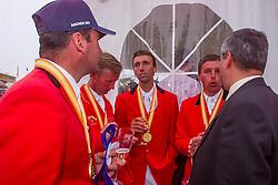 Team Belgium, Le Jeune Philippe, Lansink Jos, Van DIjck Marc, Philippaerts Ludo, De Vos Ingmar, BEL<br /> CHIO Aachen 2001<br /> © Hippo Foto - Dirk Caremans<br /> 15/06/2001