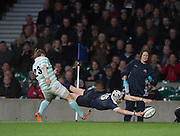 Twickenham, United Kingdom. Matt GEIGER reaches out, to catch the ball and touch down knock's on, during the 2015 Men's Varsity Match, Oxford vs Cambridge, RFU Twickenham Stadium, England.<br /> <br /> Thursday  10/12/2015<br /> <br /> [Mandatory Credit. Peter SPURRIER/Intersport Images].