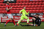 Brighton striker Jiri Skalak (38) scores a goal and puts Brighton 2-1 ahead during the Sky Bet Championship match between Charlton Athletic and Brighton and Hove Albion at The Valley, London, England on 23 April 2016.