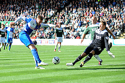 Bristol Rovers' Ryan Brunt takes a shot at goal.  - Photo mandatory by-line: Dougie Allward/JMP - Tel: Mobile: 07966 386802 07/09/2013 - SPORT - FOOTBALL -  Home Park - Plymouth - Plymouth Argyle V Bristol Rovers - Sky Bet League Two