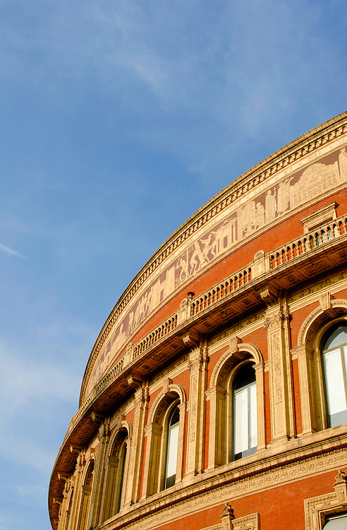 The intricately detailed walls of Royal Albert Hall, London. One of the world's premier concert venues.