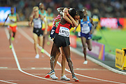Conseslus Kipruto congratulated by Sofiane Elbakkali after 3000m steeple chase at the World Championships 080817 at the London Stadium, London, England on 8 August 2017. Photo by Myriam Cawston.