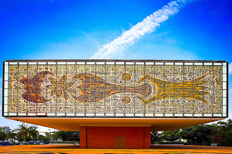 A Miami Modern building for the Bacardi Company in Miami,  designed  by architect Ignacio Carrera-Justiz in 1973. It's coverd with glass mosaics  made by Gabriel and Jacques Loire of Chartres, France, from an original painting by German artist Johannes M. Dietz.